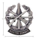 US Army Identification Mini Badge Silver Oxide Finish - Master Gunner