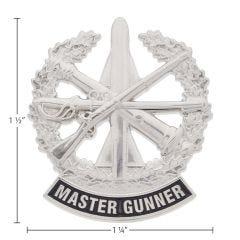 US Army Identification Mini Badge Bright Silver Finish - Master Gunner