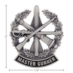 US Army Identification Badge Silver Oxide Finish - Master Gunner