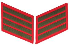 16 Year Green on Red Marine Corps Service Stripes Male