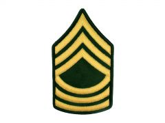 ARMY CHEVRON  MASTER SERGEANT  GLD/GRN  LARGE
