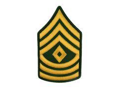 ARMY CHEVRON  1ST SERGEANT  GLD/GRN  LARGE