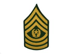 ARMY CHEVRON  COMMAND SERGEANT MAJOR  GLD/GRN  LARGE