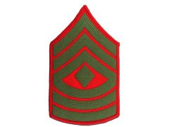 MARINE CORPS EMBROIDERED CHEVRON, 1ST SERGEANT, GREEN/RED, MALE