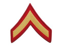 MARINE CORPS EMBROIDERED CHEVRON, PRIVATE FIRST CLASS, GOLD/RED, MALE