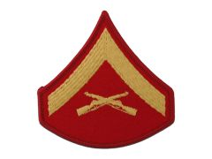 MARINE CORPS EMBROIDERED CHEVRON, LANCE CORPORAL, GOLD/RED, MALE