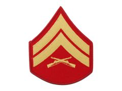 MARINE CORPS EMBROIDERED CHEVRON, CORPORAL, GOLD/RED, MALE