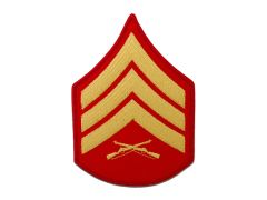 MARINE CORPS EMBROIDERED CHEVRON, SERGEANT, GOLD/RED, MALE