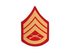 MARINE CORPS EMBROIDERED CHEVRON, STAFF SERGEANT, GOLD/RED, MALE