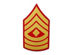 MARINE CORPS EMBROIDERED CHEVRON, 1ST SERGEANT, GOLD/RED, MALE